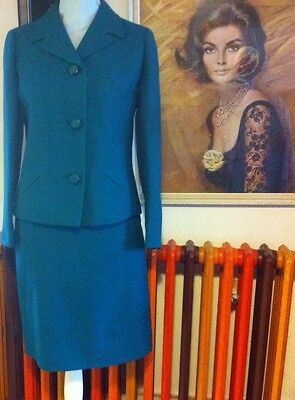 VINTAGE MOD STYLE 1960s SUIT SKIRT & JACKET WORSTED WOOL SIZE 8 10 BY WINDSMOOR