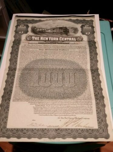 The New York Central Railroad Company Bond Certificate Consolidated Mortagage