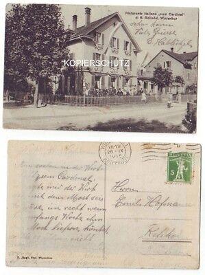 "AK Winterthur Ristorante Italiano ""zum Cardinal"" gel 1915 RRR"
