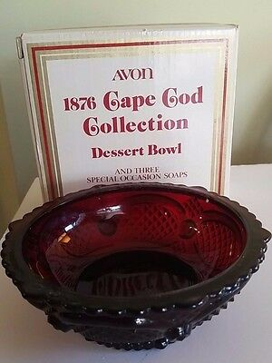 Vintage Glass Dessert Bowl AVON CAPE COD COLLECTION Ruby Red