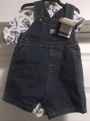 Carhartt Construction Vehicle 2 Piece Short Overall Set Choose Size 6,9,12 Month 2 Piece Overall Short
