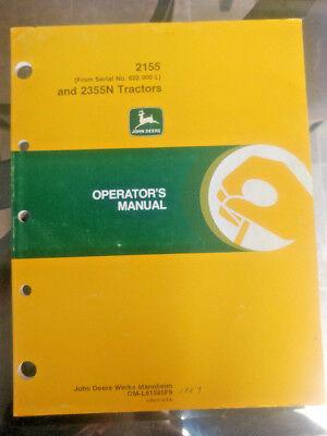 John Deere Operators Manual 2155 And 2355n Tractors