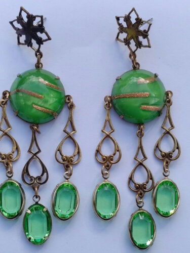 Art Deco Czech Green Aventurine Faceted Glass Cab Dangle Earrings