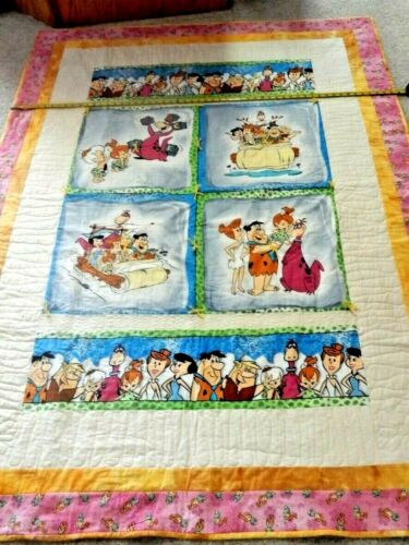 """Handmade 54"""" x 74"""" Flintstones quilt w/ FMG Stitch-in-the-ditch and ties NEW"""