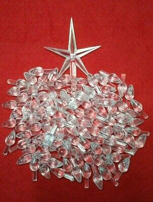 100  MEDIUM TWIST BULBS Ceramic Christmas Tree Lights LARGE CLEAR STAR TOPPER