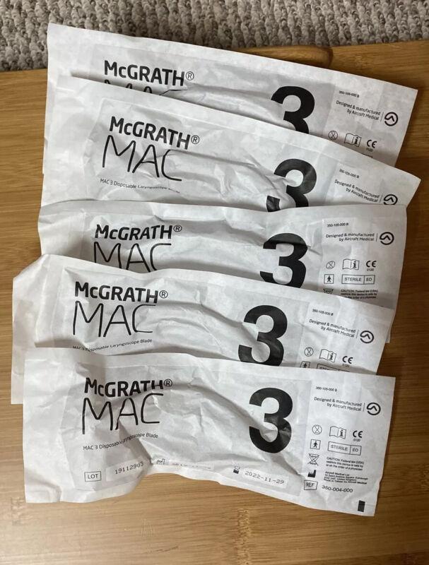 McGRATH™ MAC Laryngoscope Accessories, Size 3, Exp 11/29/22, Set Of 5
