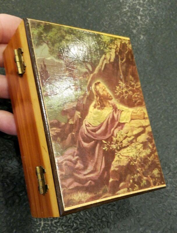 Vtg. Fancy Gap Virginia Jewelry Trinket Box Souvenir - Jesus Gethsemane - 1119