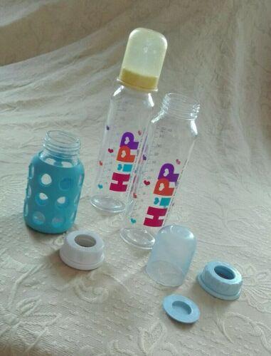 Hipp Babyflaschen Glas 2x 240 ml und 1x 120ml von Lifefactory mit Silikonschutz