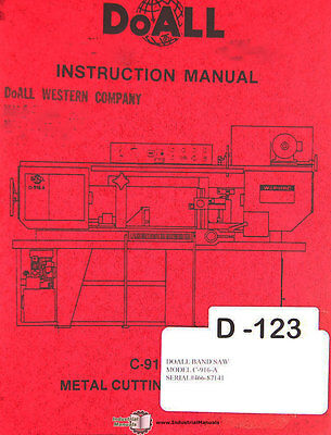 Doall C-916-a Band Saw Operations Electric Hydraulic And Parts Manual 1986