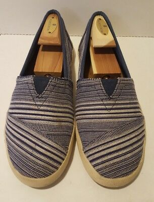 (Toms US 8.5 Navy Blue White Striped Classics Canvas Flats Slip On Shoes EUR 39)