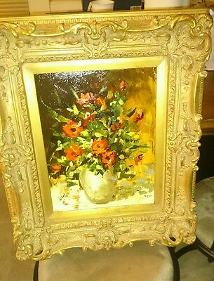 Jerry Georgeff Roses For Allena Oil Painting Ornate Framed Signed