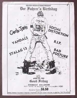 Vtg 1984 Der Fuhrer's Birthday Circle Jerks Social Distortion Concert Flyer