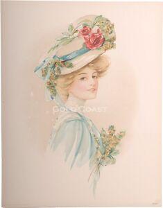 1908-Victorian-Print-Woman-w-Large-Hat-Flowers