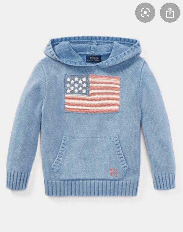 POLO Ralph Lauren TODDLER BOYS 100% COTN LT BLUE HOODED KANGAROO FLAG SWTR-3T