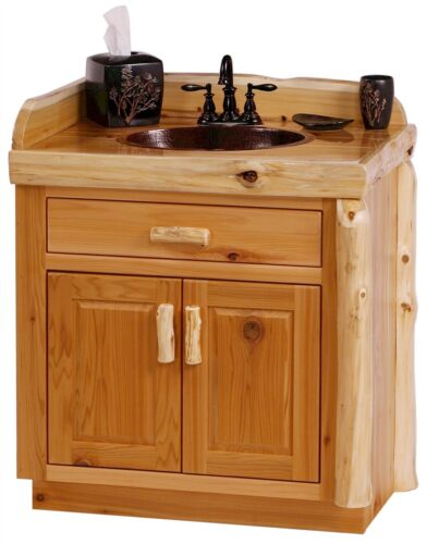 Custom Rustic Cedar Wood Log Cabin Lodge Bathroom Vanity Cabinet 30 INCH