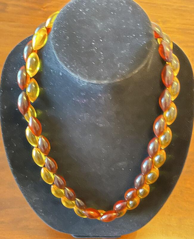 "Vintage Prystal Bakelite Hand Tied 24"" Necklace, Amber & Butterscotch, 14k Clasp"