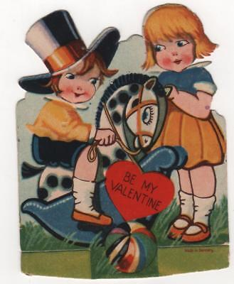 vintage Germany Valentine Card Girl watch Top Hat Boy riiding Rocking Horse for sale  Monroeville