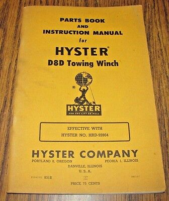 Hyster D8d Towing Winch For Caterpillar D8 Crawler Dozer Part Operator Manual