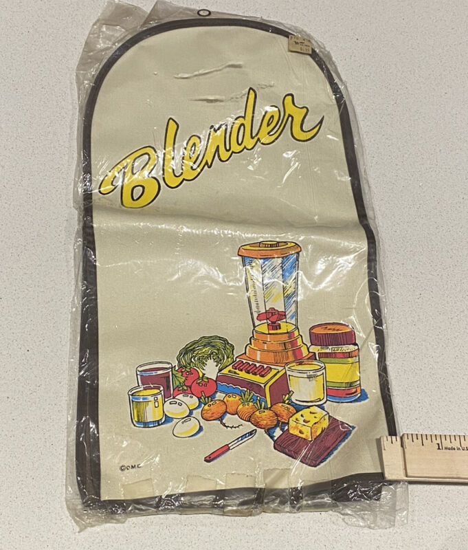 Vintage 80s  Blender Tall Appliance Cover Quilted Vinyl Avocado Juice Fruit