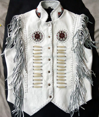 Men's Western wear White Cowhide Leather Vest Fringes braid around beads bones - Fringed Mens Vest