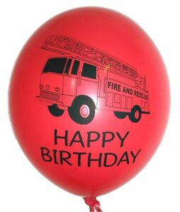 10 fireman party HAPPY BIRTHDAY red latex fire engine balloons fire & rescue sam