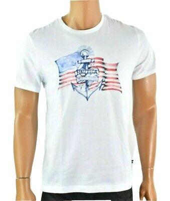 Nautica Men White T-shirt New S Short Sleeve American Flag Graphic Tee Blue Sail
