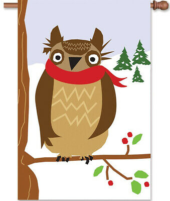 Winter OWL House Flag Christmas Double Sided Applique 28x40 Premier