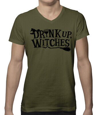 Drink Up Witches Funny Halloween October Alcohol Drinking Men's V-Neck