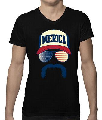 Merica Hat & Sunglasses Funny 4th Of July Patriotic Pride Men's V-Neck T-Shirt