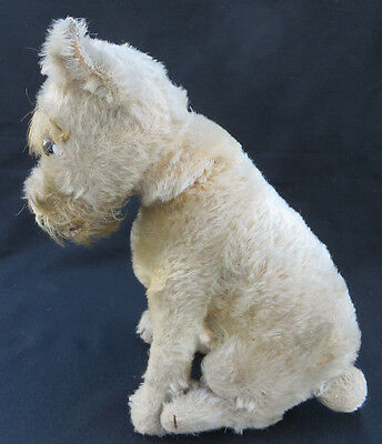 "Antique 1930s Steiff 11"" Sitting Mohair Rattler Dog with Tail Turns Head"