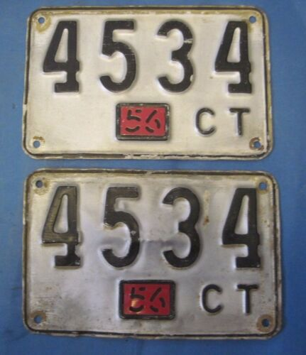 1956 Connecticut license plates matched pair