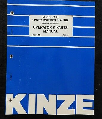 Kinze Model 3110 3-point Mounted Planter Operator Parts Catalog Manual Nice