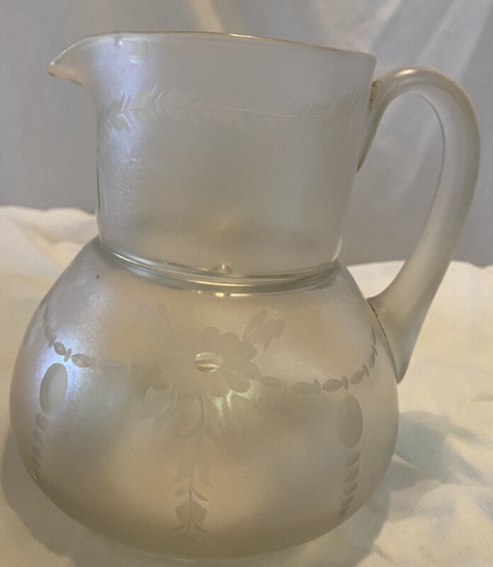 Vintage ? Antique ? Water Pitcher Etched Iridescent Blown Glass Applied Handle