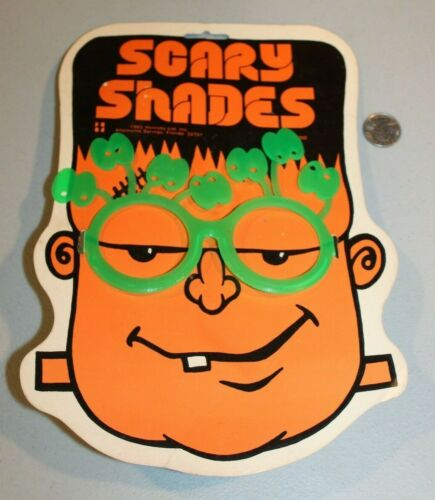 RARE 1982 Scary Shades Glasses Frankenstein MOC Rack Toy Halloween NOS Monster