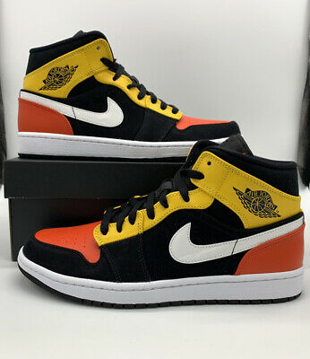 Nike Air Jordan 1 Retro Mid SE Mens Size Black Yellow Orange 852542-087 New