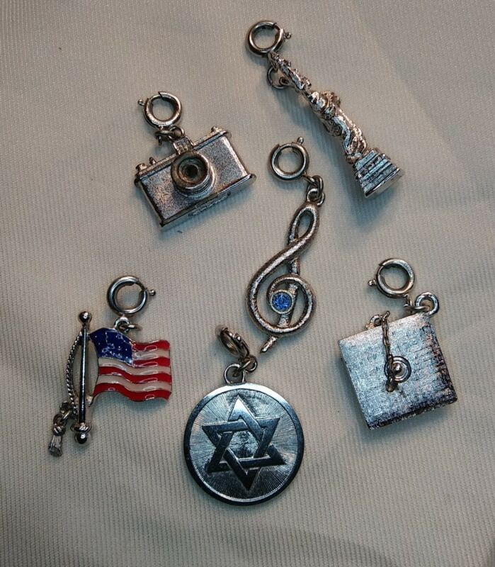 LOT Vintage Charm Silver tone Spring Clasp Charm MONET signed