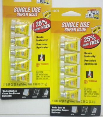New 6 X 5pk The Original Super Glue Single Use 25 More Self Piercing Cap