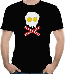 Bacon-And-Eggs-Skull-Funny-Breakfast-T-Shirt-100-Soft-Cotton