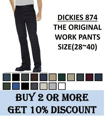 Dickies 874 Original Fit Work Pants Bottom Sizes 28 to 40