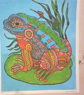 """Vintage Decoupage Sheet  7 1/2""""x 9 1/2 """"- Multi Color Frog on Lily Pad"""