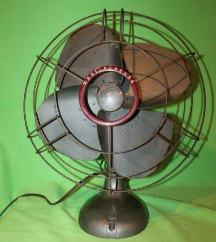 "Vintage 15""  Westinghouse Oscillating 3 Blade Brass Blade Fan WORKING"