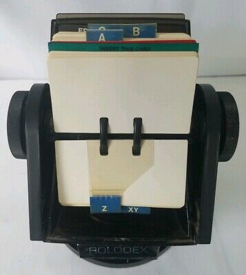 Vintage Rolodex Sw 24c Plastic Large Round File Faux Wood Swivel Rotary W Cards