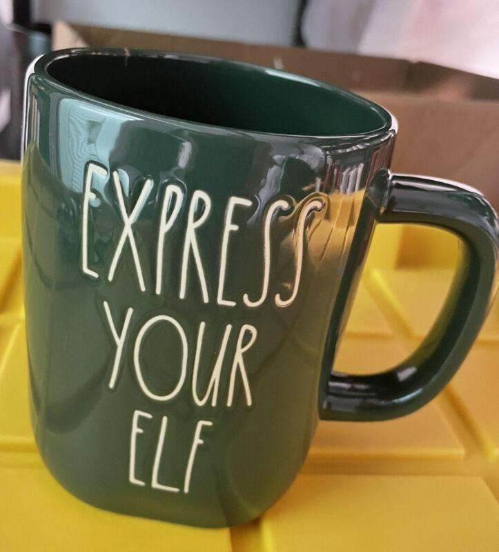 """Rae Dunn Christmas mug """"EXPRESS YOUR ELF"""" Green"""