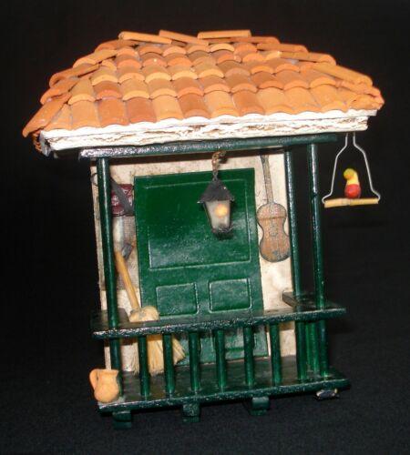 HANDMADE PAINTED 3D VTG TERRACOTA WOOD FOLK ART HOUSE/FACADE W/GUITAR ,BIRD ...