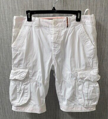 Corelite By Superdry Mens White Button Fly Cargo Shorts Size L