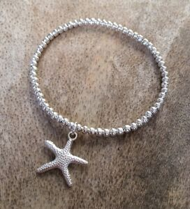 Starfish Charm Bracelet Silver Ball Beaded Stacker Surfer Stretch