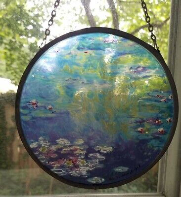 Vintage Stained Glass Ornament Suncatcher Inspired by Monet's Water Lilies