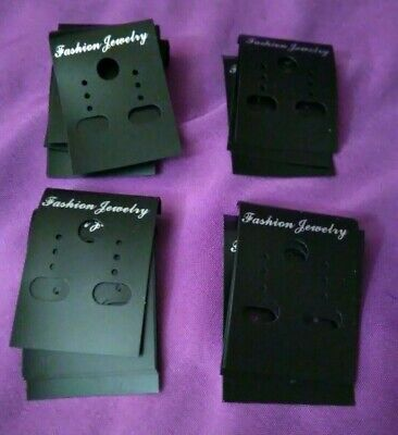 Lot Of 20 Black Plastic Earring Display Hanging Cards Pierced Clip Jewelry