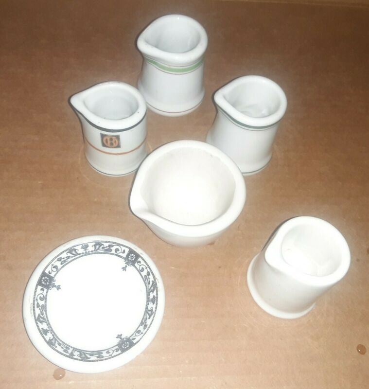 Group or Lot of 5 Restaurant Ware Creamers, Coors, Carr, Bailey Walker + Umkd.