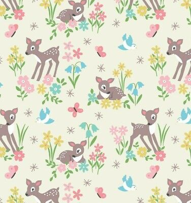 Bambi Deers on Cream Elastane Jersey Fabric from Lewis and Irene 1.5m wide